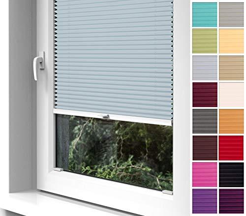 Home-Vision® Premium Plissee zum Anschrauben in der Glasleiste Innenrahmen (Silber, B70cm x H200cm) Blickdicht Plissee Jalousie mit Halterungen zum Bohren, Sonnenschutzrollo Rollo