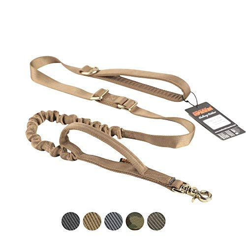 EXCELLENT ELITE SPANKER Tactical Dog Leash Adjustable K9 Military Bungee Dog Leash Elastic Leads Rope with 2 Control Handle(Coyote Brown)