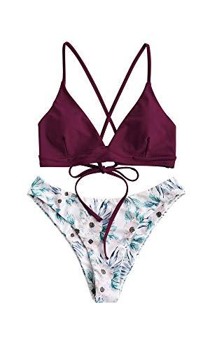 ZAFUL zweiteilig Bikini-Set mit verstellbarem BH Push-Up Rücken, Triangle Bustle Badehose mit Blummenmuster (Kastanienbraun, S)
