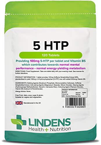 Lindens - tabletas de 100 mg 5 HTP - 120...