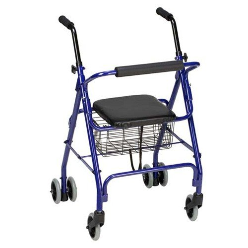 Mabis Aluminum Rollator with Weight-Activated Brakes, Royal Blue; 2/Carton 501-1011-2100