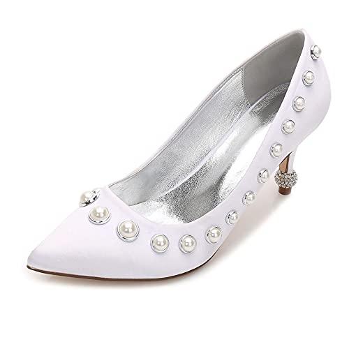 Mujeres Puntiagudos Perla Satén de tacón bajo Zapatos de Novia de Boda...