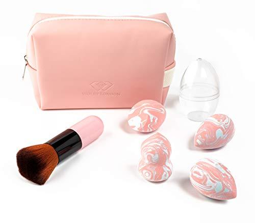 VIOLET LONDON Mini Pink Makeup Brush & 4 Different Shapes Makeup Sponge & Cosmetics Bag and Makeup Sponge Case (Set-7pcs)