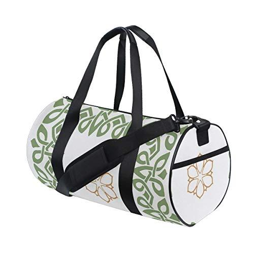 HARXISE Bolsa de Viaje,Estampado nórdico de Motivos de Copo de Nieve Vintage,Bolsa de Deporte con Compartimento para Sports Gym Bag