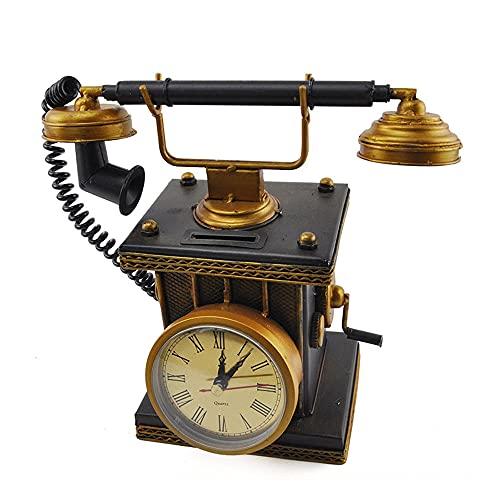 Lllunimon Hucha con Forma De Teléfono Retro, Banco De Monedas, Reloj Antiguo, Modelo De Teléfono, Decoración del Hogar, Regalo