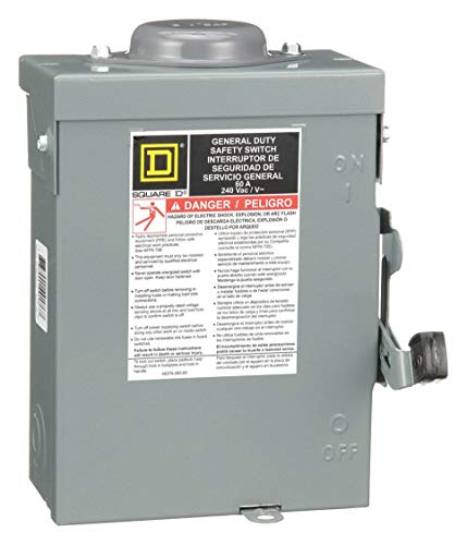 Square D Safety Switch, 3R NEMA Enclosure Type, 60 Amps AC, 15 HP @ 240VAC HP