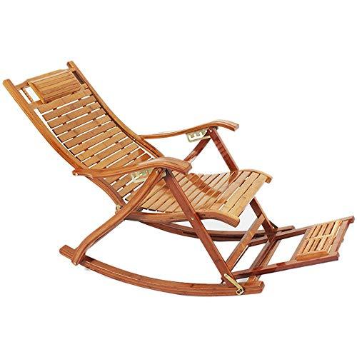 Qiming Descanso Cómoda Gravedad Cero sillas de salón Sillas jardín de bambú Plegable reclinable al Aire Libre Patio Tumbona Sillas de Playa con reposapiés cojinete de Alta Carga