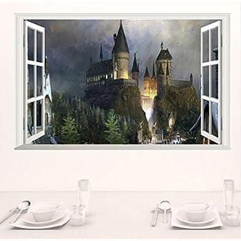 3D Fen/être Ch/âteau Wall Sticker Autocollant Harry Potter Pvc Stickers Muraux Affiche Murale Art Home Decor