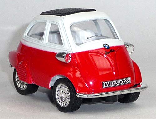 Kinsmart kompatibel mit BMW Isetta 1:38 Auto Modellauto (rot-weiß)