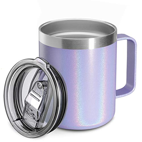 12oz Stainless Steel Insulated Coffee Mug with Handle, Double Wall Vacuum Travel Mug, Tumbler Cup with Sliding Lid, GLITTER LAVENDER