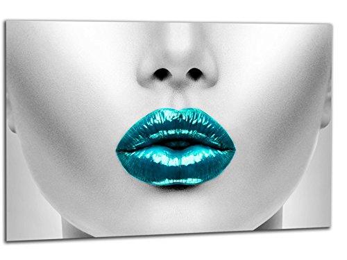 kunst-discounter Leinwandbild auf Keilrahmen A05220 SEXY Lips Lady TÜRKIS Deko 60 x 40 cm
