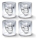 Decantadores 4 PCS/Set Creativo Cráneo de Cristal Tazas Crystal Skeleton Cerveza Copa de Cerveza Whisky Cocktail Beber Ware para Bar Party (Size : 75ML)