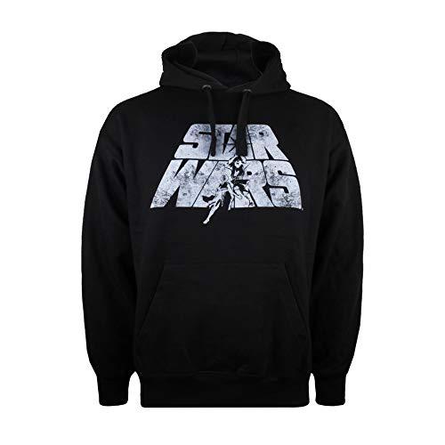 Star Wars Retro Logo Capucha, Negro (Black Blk), Medium para Hombre