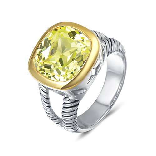 UNY Ring Twisted Cable Wire Designer Inspired Fashion Brand David Vintage Love Antique Women Jewelry Gift (Peridot, 8)