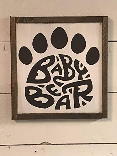CELYCASY Panneau bébé Ours Woodland Nursery Ourson décor Chambre de Chasse Maison et Vie Décoration de Chambre d'enfant, Baby Shower.