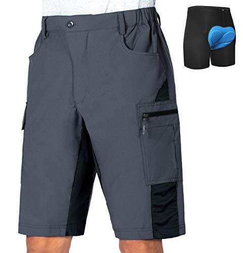 Vzteek Men's Cycling-3D-Padded-Shorts Mountain-Bike-Bicycle-MTB-Shorts (Grey, X-Large)