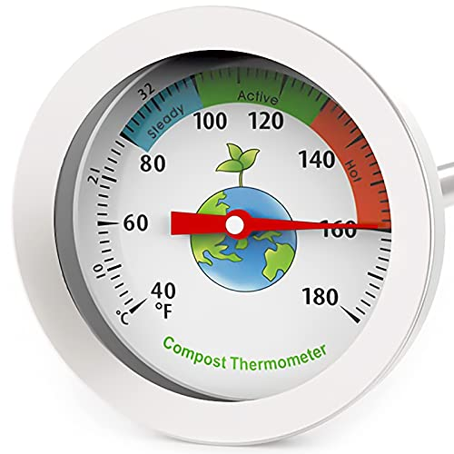 20 Inch Compost Thermometer - Soil Thermometer 20 Inch Stem, Steel Compost Thermometer Celsius Fahrenheit, Soil Thermometer for Planting, Pile, Compost Bin, Backyard, Garden and Worm Composting