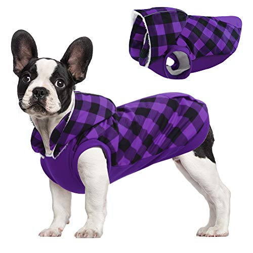 Kuoser British Style Plaid Dog Winter Coat, Windproof Cozy Cold Weather Dog Coat Fleece Lining Dog Apparel Reflective Dog Jacket Dog Vest for Small Medium Dogs with Removable Hat Purple L