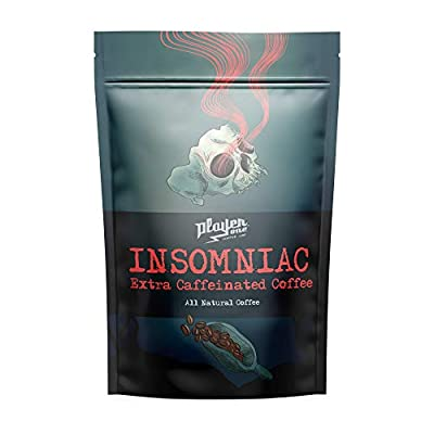 Player One Coffee Insomniac, Ground Extra Caffeinated Coffee, Strongest Coffee In The World High Caffeine, 6x More Caffeine, All Natural, Fresh Roasted Coffee