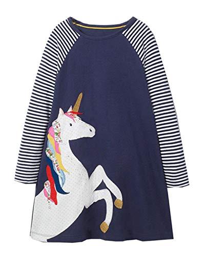 Beilei Creations Mädchen Kleider Baumwolle Karikatur Stickerei Casual Jersey Kleider Gr.85-130 (6Jahre/120cm, Einhorn)