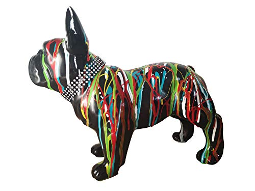 Laure TERRIER Statua di Bulldog Francese Ceramica, in Piedi, Centimetri di Lunghezza 32. Decorazione, Modello Black Drip