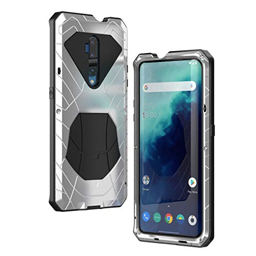 DDJ Oneplus 7T Pro 5G case, Oneplus 7T Pro 5G Rugged Case, Hybrid Armor Aluminum Heavy Duty Bumper Hard Tough Protectctive Shock Reduction Dust-Proof Case for Oneplus 7T Pro 5G (Silver)