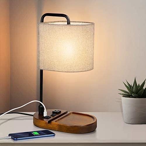 ZEEFO Bedside Table Lamp USB Type C Charging Ports 3 Prong AC Outlet Desk Lamp Retro Walnut product image