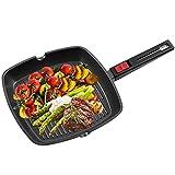 OZAVO Grillpfanne, Steakpfannen BBQ, 28x28x4.3cm antihaftversiegelt, Pfanne Aluminium, induktionsgeeignet für Alle Kochfelder und Ofenfest(Schwarz 28CM)