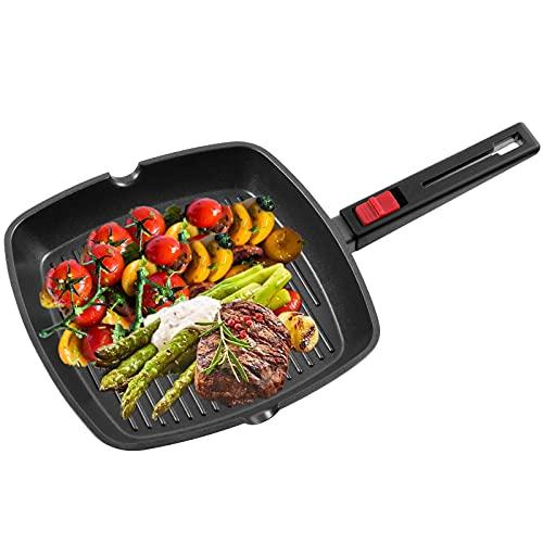 OZAVO Grillpfanne, Steakpfannen BBQ, 28x28x4.3cm antihaftversiegelt, induktionsgeeignet für Alle Kochfelder und Ofenfest (28CM)