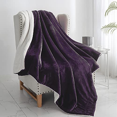 """Walensee Sherpa Fleece Blanket (Twin Size 60""""x80"""" Purple) Plush Throw Fuzzy Super Soft Reversible Microfiber Flannel Blankets for Couch, Bed, Sofa Ultra Luxurious Warm and Cozy for All Seasons"""