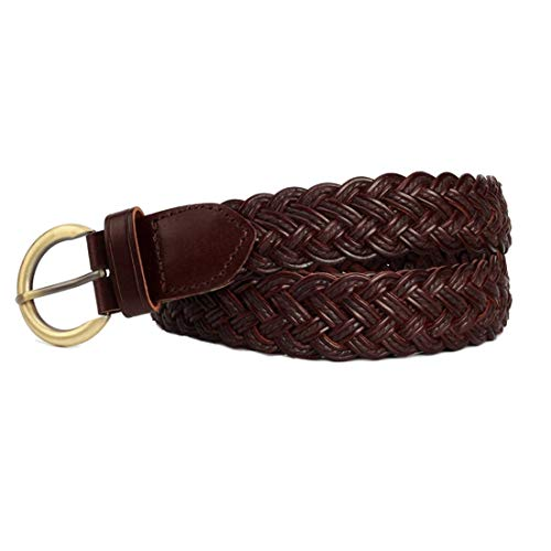Hexiaoyi Frauen-elastische Gewebe Stretch-Gurt-Leder Solid Color Copper Buckle (Color : Coffee)