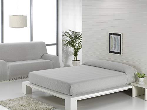 Regalitostv (180 Gris/Perla) SEDELLA* Colcha Multiusos Foulard Plaid Liso para Cama o sofá Garantizada Fabricado EN ESPAÑA (180_x_260_cm, Gris/Perla)