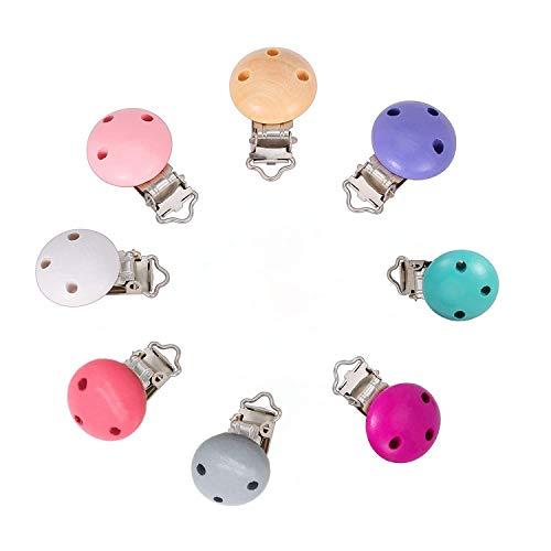 Mehrfarbig Schnuller Clip,Dummy-Kettenclip,Dummy-Clips Silikon Beißring Clip Silikon Beißring 8-Pack,Clips/Dummy Nippel Halter für Baby und Kind