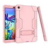 Koolbei Case for LG G Pad 5 10.1' Case 2019,Heavy-Duty Drop-Proof and Shock-Resistant Rugged Hybrid case with Built-in Stand , for LG G Pad 5 10.1 inch FHD Tablet 2019 (Rose Gold)