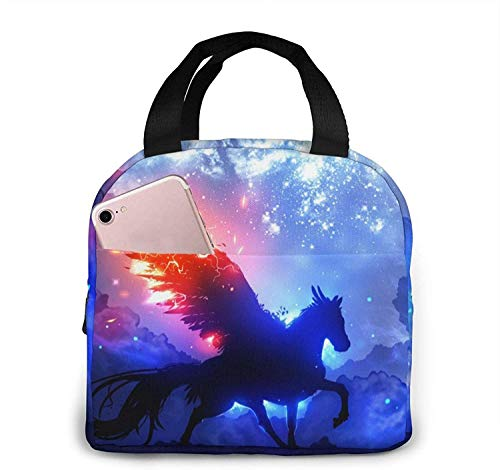 Unicornio Caballo con alas Bolsas de almuerzo, Fiambrera con aislamiento portátil, Contenedor, Bolsa refrigeradora, Bolsa Bento para viajes / picnic / trabajo