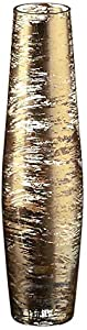 """Vaso, vaso in vetro, vaso esclusivo, collezione """"GOLDEN DUST"""", oro/trasparente, 35 cm, lavorato a mano (AMARA DESIGN powered by CRISTALICA)"""