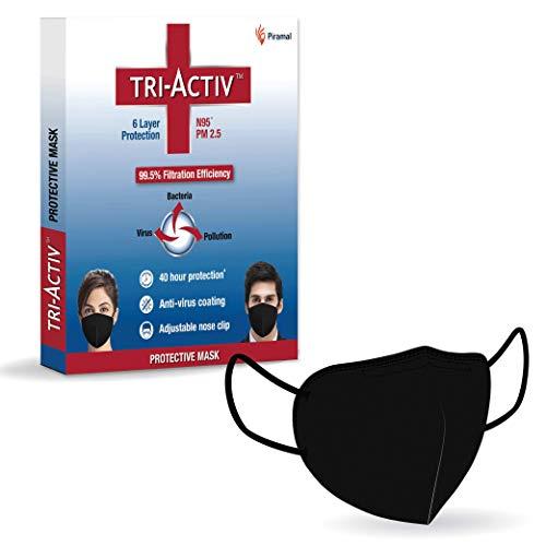 Tri-Activ 6 Layer Protective Face Masks, PM2.5 / N95 Tested as per NIOSH standard, Anti-Virus Coating, 99.5% Filtration Efficiency, Reusable, (Black mask)