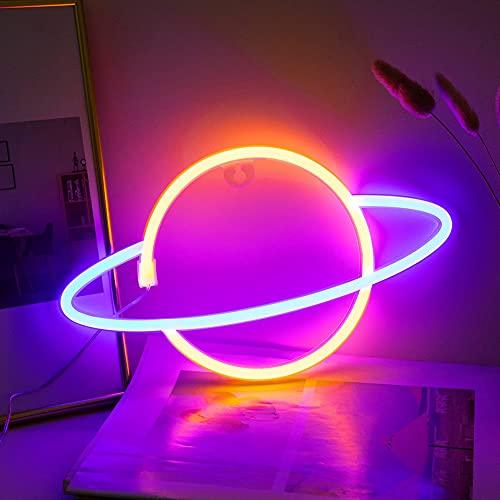 Willion Planet Neon Firma LUZ NOCTURNA LED Luces de Neón USB Carga/Batería Operadas Luces de pared de neón Luces decorativas de neón para el dormitorio del hogar Bar
