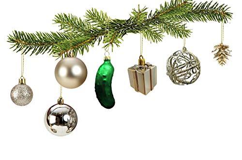 100 teiliges Set Weihnachtskugel Christbaumschmuck Weihnachtsgurke Christbaumspitze (Creme)