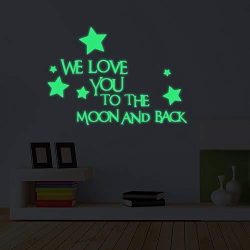 2stk Glow In The Dark Stars Wandtattoo,We Love You to The Moon and Back Zitat Wandaufkleber,Kindergarten Glühenden Aufkleber Für Kinder Schlafzimmer Baby-Zimmer-dekor A 2 Teilig