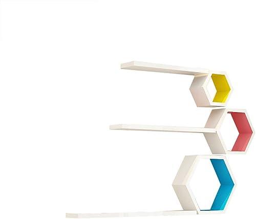 YY M l Einfache Holzregal Wandregale, DIY Wandregale, Wohnzimmer Wand-, Schlafzimmer Wandregale, Wand- Bücherregal, Küche Wandregale, Wandregal, Drei sechseckige Box (1.1 × 0.6m)