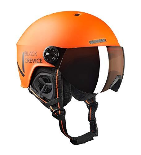 Black Crevice Unisex– Erwachsene Skihelm SÖLDEN mit Visier, orange matt/schwarz, M/L (58-61 cm)