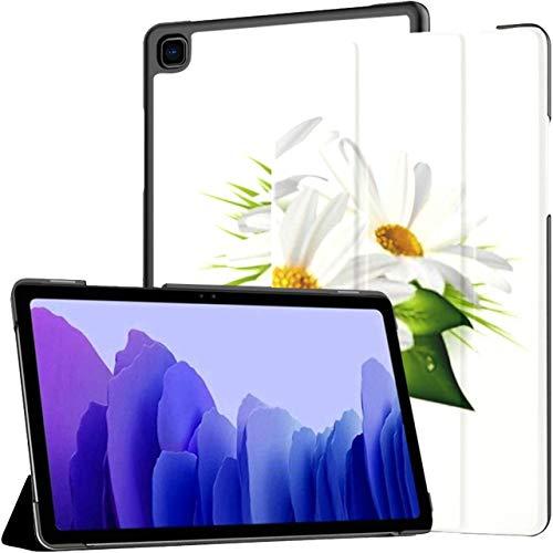 Estuche para Tableta Samsung Galaxy Tab A7 de 10,4 Pulgadas 2020 (sm-t500 / t505 / t507), Tres Hojas de Margaritas de manzanilla aisladas en una Cubierta de Soporte de múltiples ángulos con activació