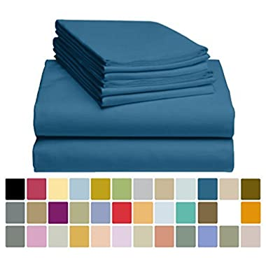6 PC LuxClub Sheet Set Bamboo Sheets Deep Pockets 18  Eco Friendly Wrinkle Free Sheets Hypoallergenic Anti-Bacteria Machine Washable Hotel Bedding Silky Soft - Navy Queen