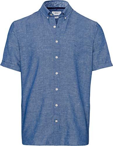 BRAX Dan Cotton Linen Slubyarn Halbarm Gemustert Camicia, Blu (Sea 26), 37 (Taglia Produttore: Small) Uomo