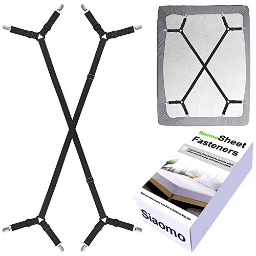 Siaomo Bed Sheet Stays Fasteners - Adjustable Criss-Cross Sheet Holder Fasteners Straps for Full to Queen to California King - Fitted Flat Sheet Keeper Clips Grippers (2Pcs Long Black)
