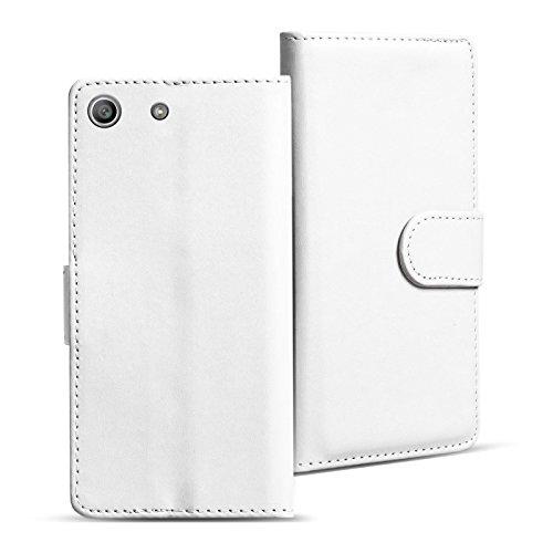 Verco Xperia M5 Hülle, Handyhülle für Sony Xperia M5 Tasche PU Leder Flip Hülle Brieftasche - Weiss