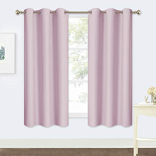 "RYB HOME Insulated Curtains Drapes - Super Soft Polyester Window Covering Soundproof Drapes for Nursery Energy Saving Panels Light Shades for Kids Room (2 Pieces, 42""x 63"", Light Pink)"