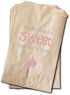 Baby Feet Candy Bags - Girls Baby Shower Favor Bags - 6.25