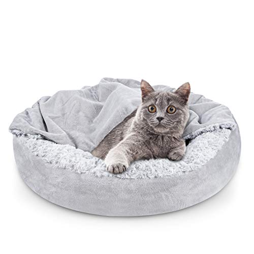 JOEJOY Small Dog Bed Cat Bed with Hooded Blanket, Soft Donut Round Cozy Cuddler Dog and Cat Bed, Orthopedic Warm Cushion Beds for Indoor Cat and Puppy, Anti-Slip Bottom and Machine Washable 26 Inch